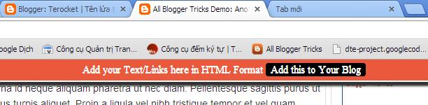 [Tips] - Thanh giới thiệu/Ghi chú trên cùng bằng CSS cho Blogspot Blogger