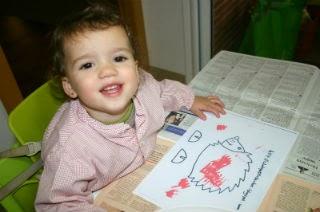 Manualitat infantil eriçó pintat amb forquilla