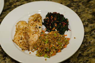 Almond Crusted Tilapia, Wheat Berries and Red Kale