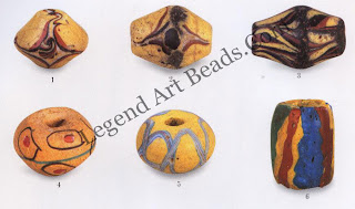 Bodom beads collected in Ghana. Figs. 1-5: late nineteenth century Fig. 3: length, 4.3 cm. Estate of Dr. Michael, Heide, Portland, Oregon. Fig. 6: twentieth century.