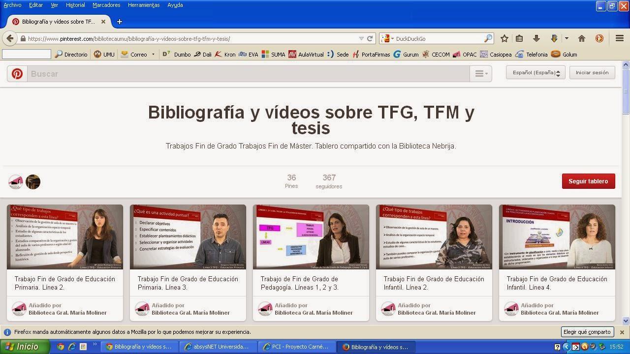 """tablero de Pinterest: """"Bibliografía y vídeos sobre TFG, TFM y tesis"""""""