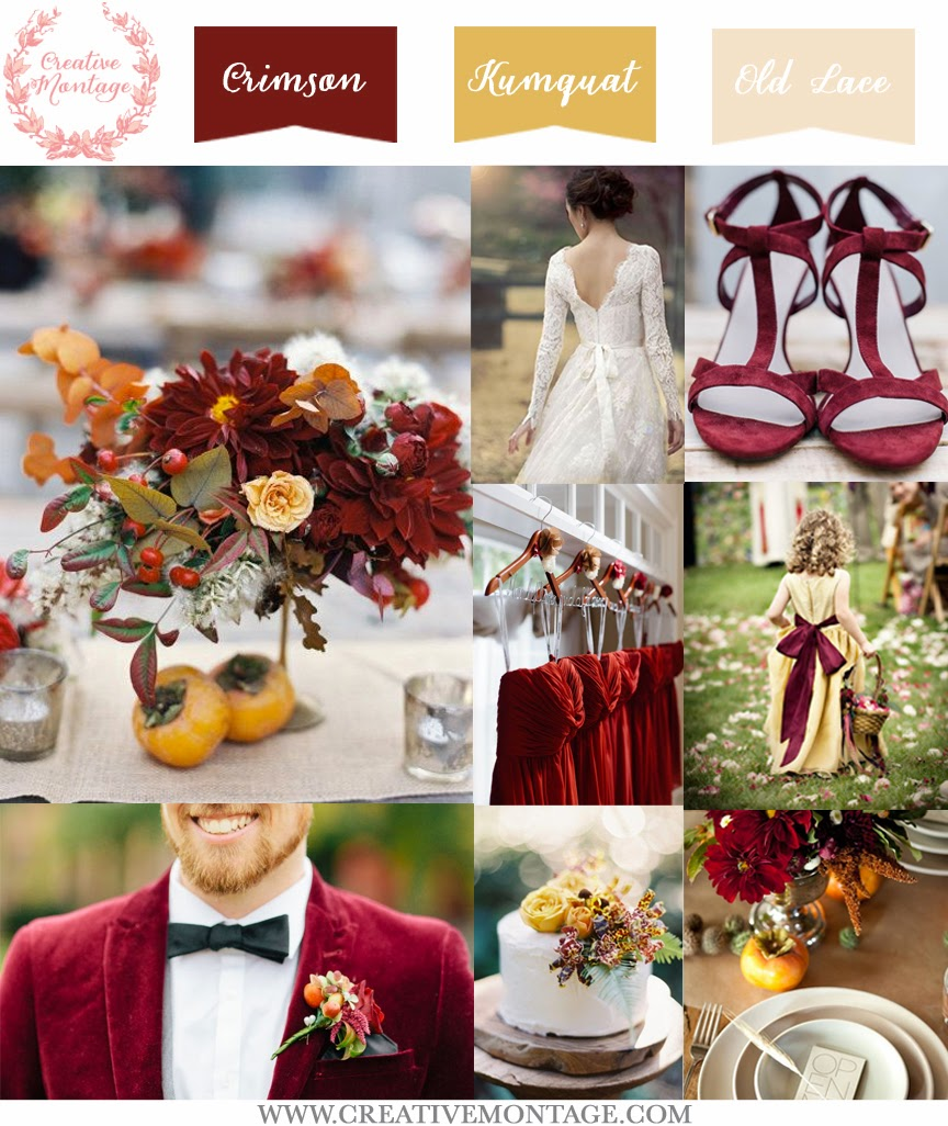 A lovely board using rich crimson velvet, decorative kumquats in table settings and lush crimson dahlias for florals