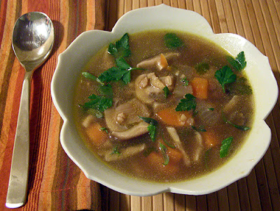 Bowl of Mushroom and Barley Soup