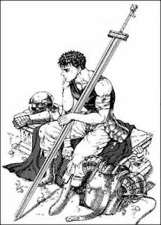 Guts, personnage principal de Berserk assis avec sa grande épée