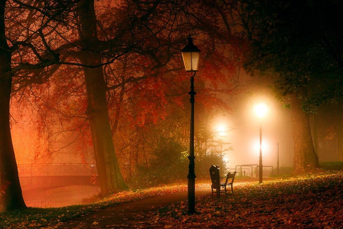 Картинки осень парк фонарь
