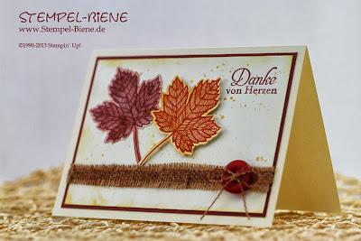 Herbstliche Karte; Stempel-biene