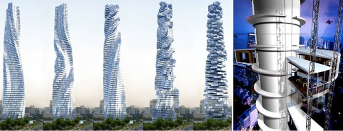 The Dynamic Tower – Left: Differing shapes of the Tower; Right: The mechanics of the Tower – all renders by Dynamic Architecture