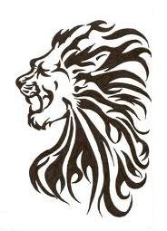 Motif Tato Singa Hitam Putih 14