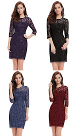 4-Color Three Quarter Sleeve OL Silvery Lace Dress
