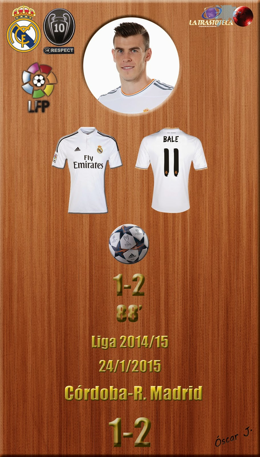Gareth Bale (1-2) - Córdoba 1-2 Real Madrid - Liga 2014/15 - Jornada 20 - (24/1/2015)