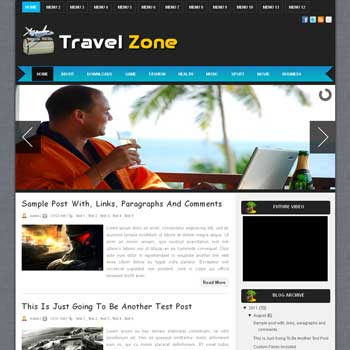 Travel Zone blogger template. download travel template for blogger