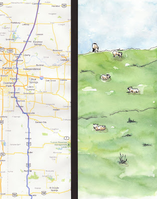 artist travel journal sheep on hillside