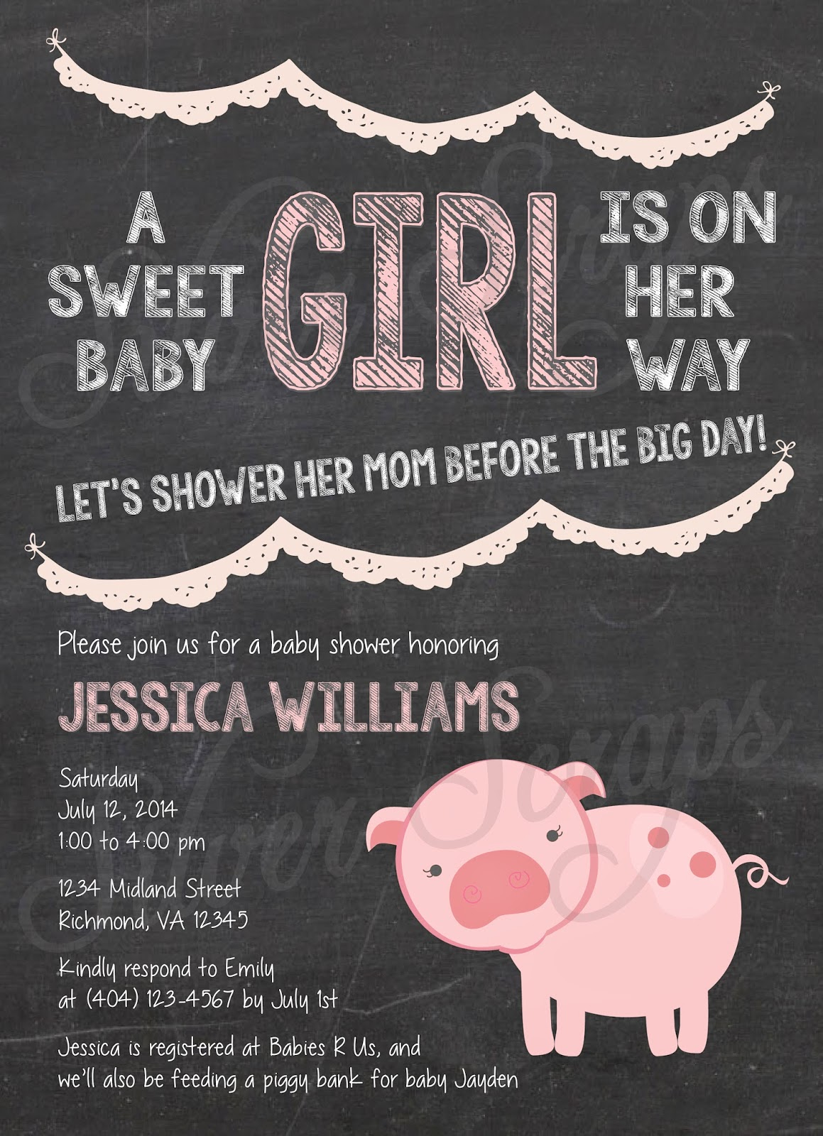Chalkboard, Bunting and Pink Piggy Custom Girl Baby Shower Invitation - Pig Farm Garland Banner Flags Chalk Black White - 5 Printable Designs - Silver Scraps Peach Light Pink Blush Cream Lace Doily Vintage
