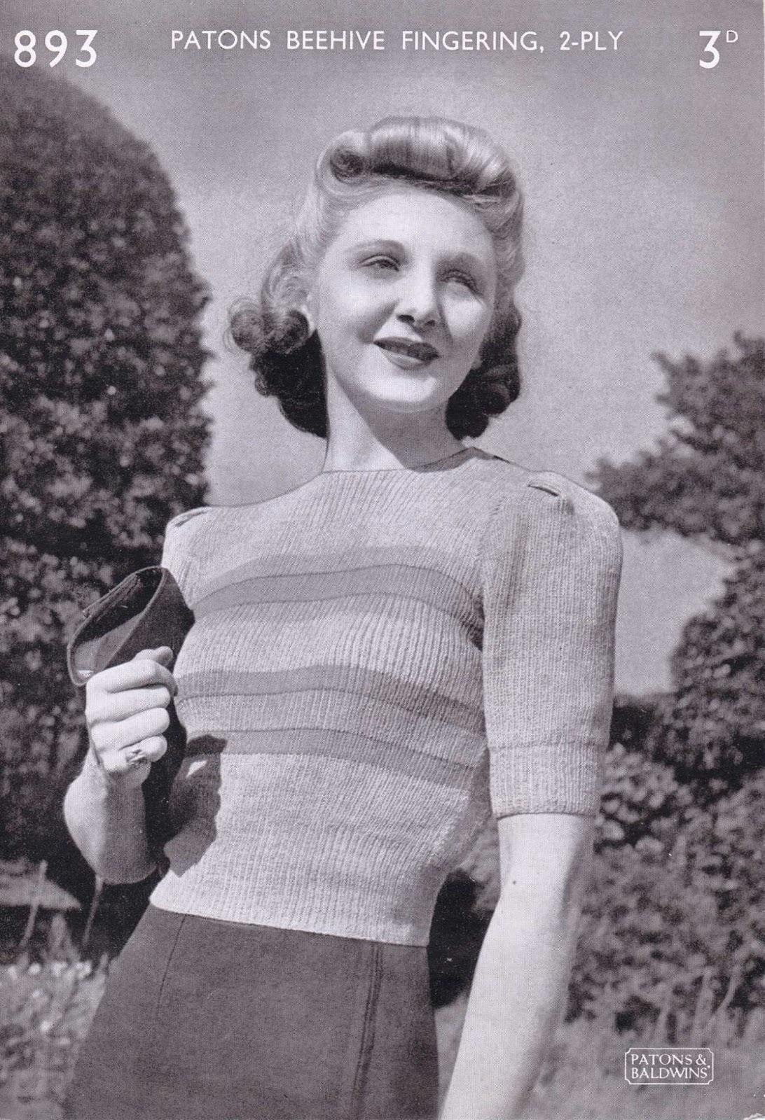 The Vintage Pattern Files: 1940s Knitting - Womens Jumper Patons 893
