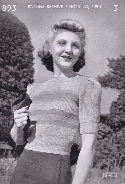 The Vintage Pattern Files Free 1940s Knitting - Womens Jumper Patons 893