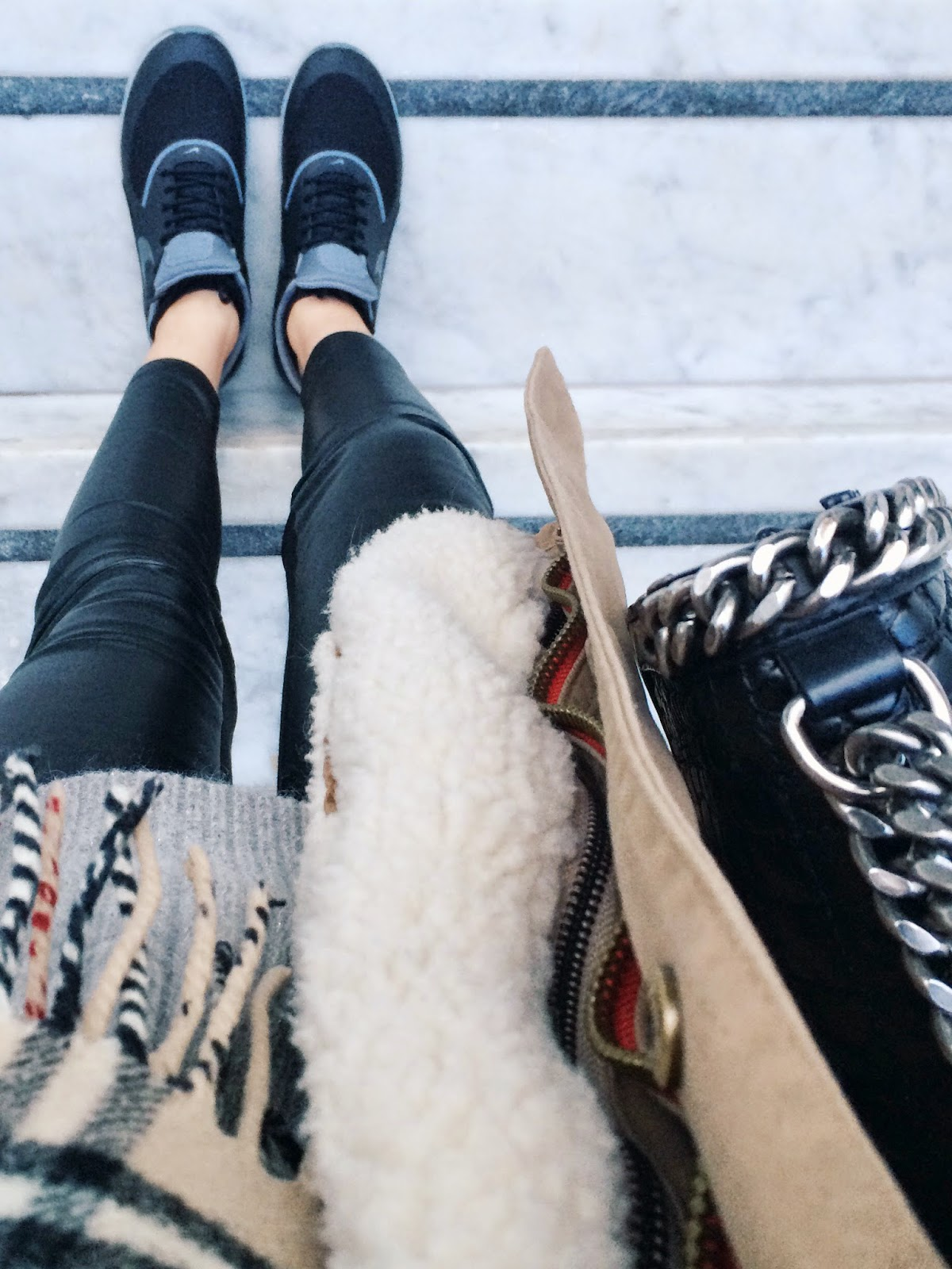 from where i stand, nike trainers, nike trainers street style, nike air max thea trainers in black and grey, burberry scarf, minusey parka, zara city bag croco, leather leggings, parka coat, shearling parka coat, camel parka