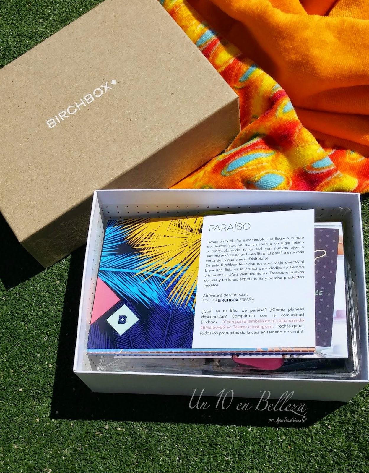 belleza, birchbox, Birchbox Paraíso, caja de muestras, verano