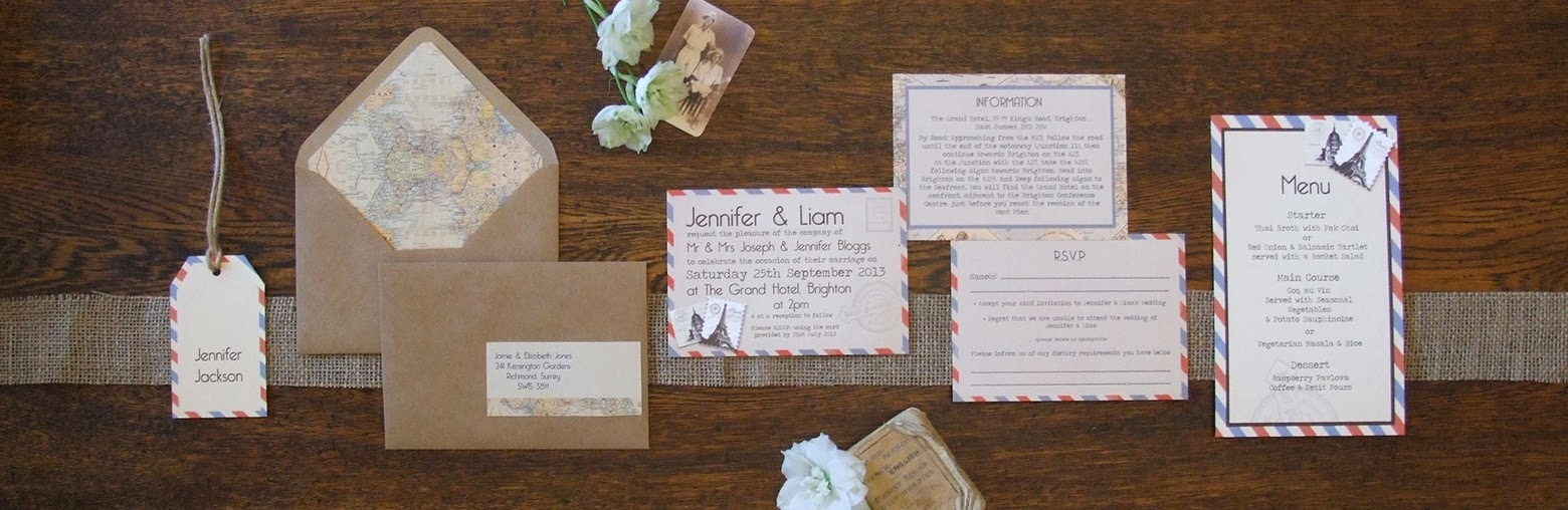 Knots and Kisses Wedding Stationery: Vintage Travel Wedding ...