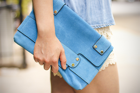 Tony Bianco Blue Suede Clutch