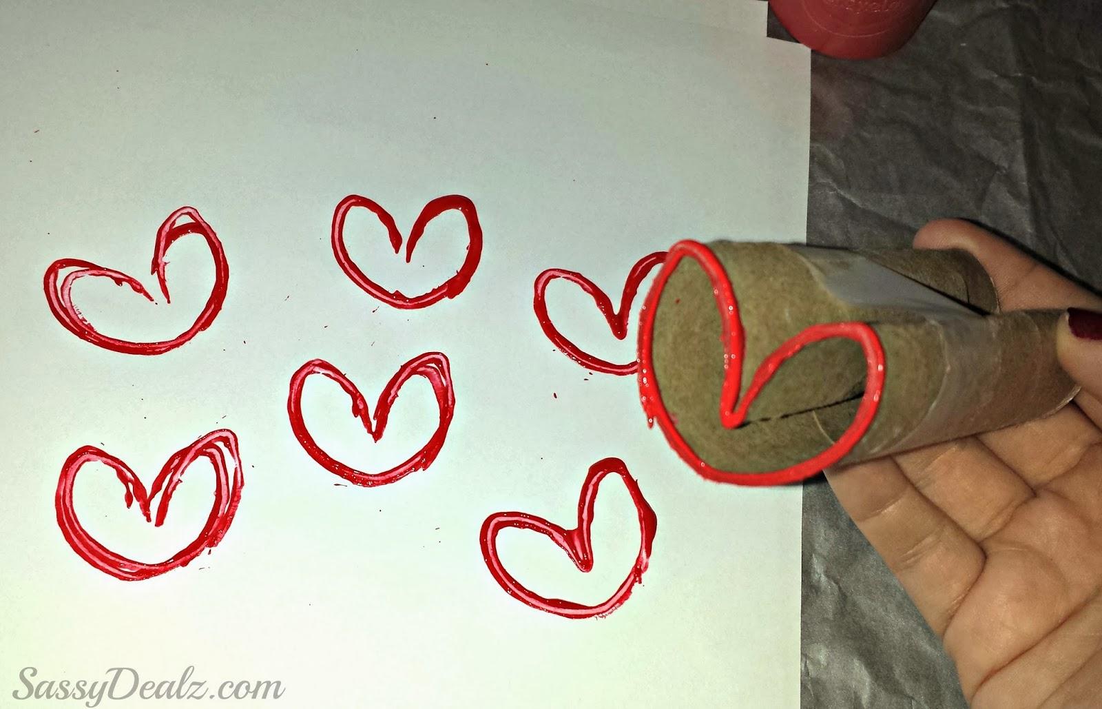 Diy heart stamp using toilet paper rolls kids valentines craft heart stamp toilet paper roll craft jeuxipadfo Gallery