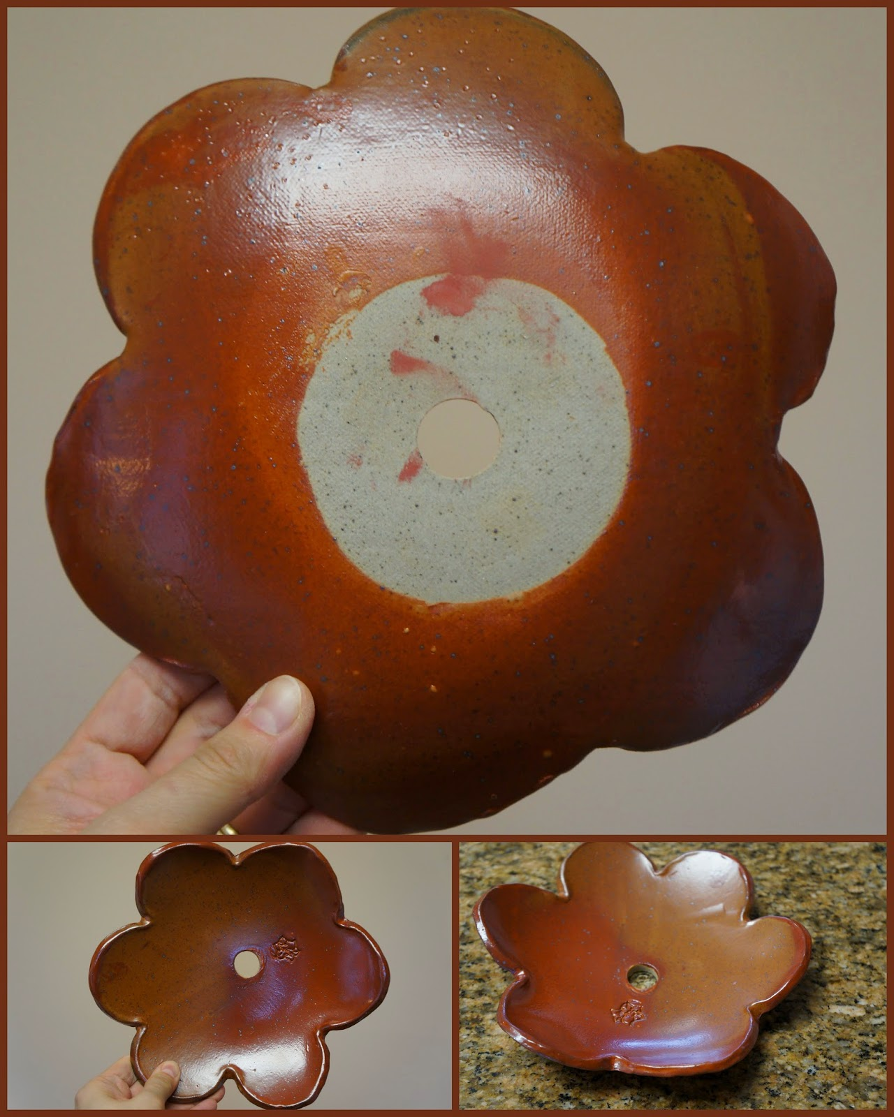 Ceramic floral disk for the garden totem.