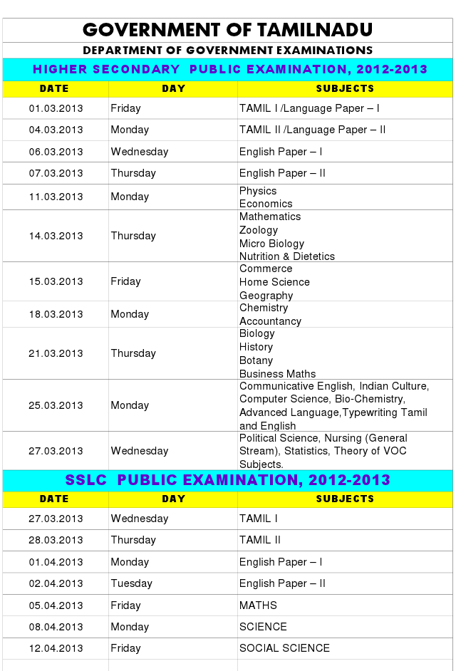 TN SSLC HSLC Board Exam Time Table 2013