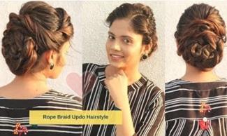 Cute Rope Braid Bun/Updo Hairstyle | Stylish Bun Hairstyle for Wedding | Komal's hair