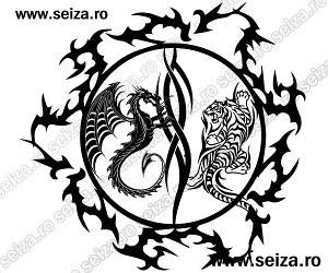 tribal tattoo / tiger and dragon tattoo