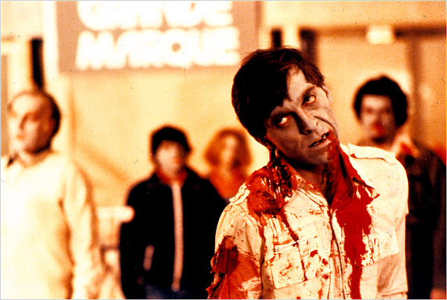 Zombies roaming the mall in Dawn of the Dead