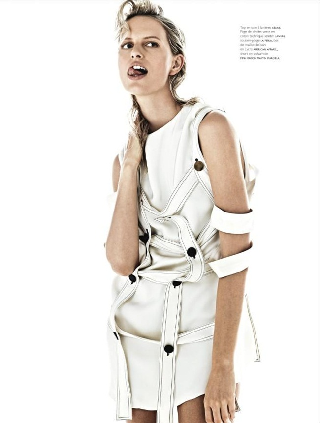 Céline 2015 SS Double Layer Cage Top in Off White Viscose Faille Editorials