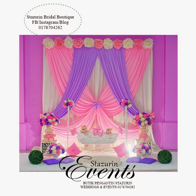 Cradle decoration naming ceremony pink purple theme for Baby name ceremony decoration