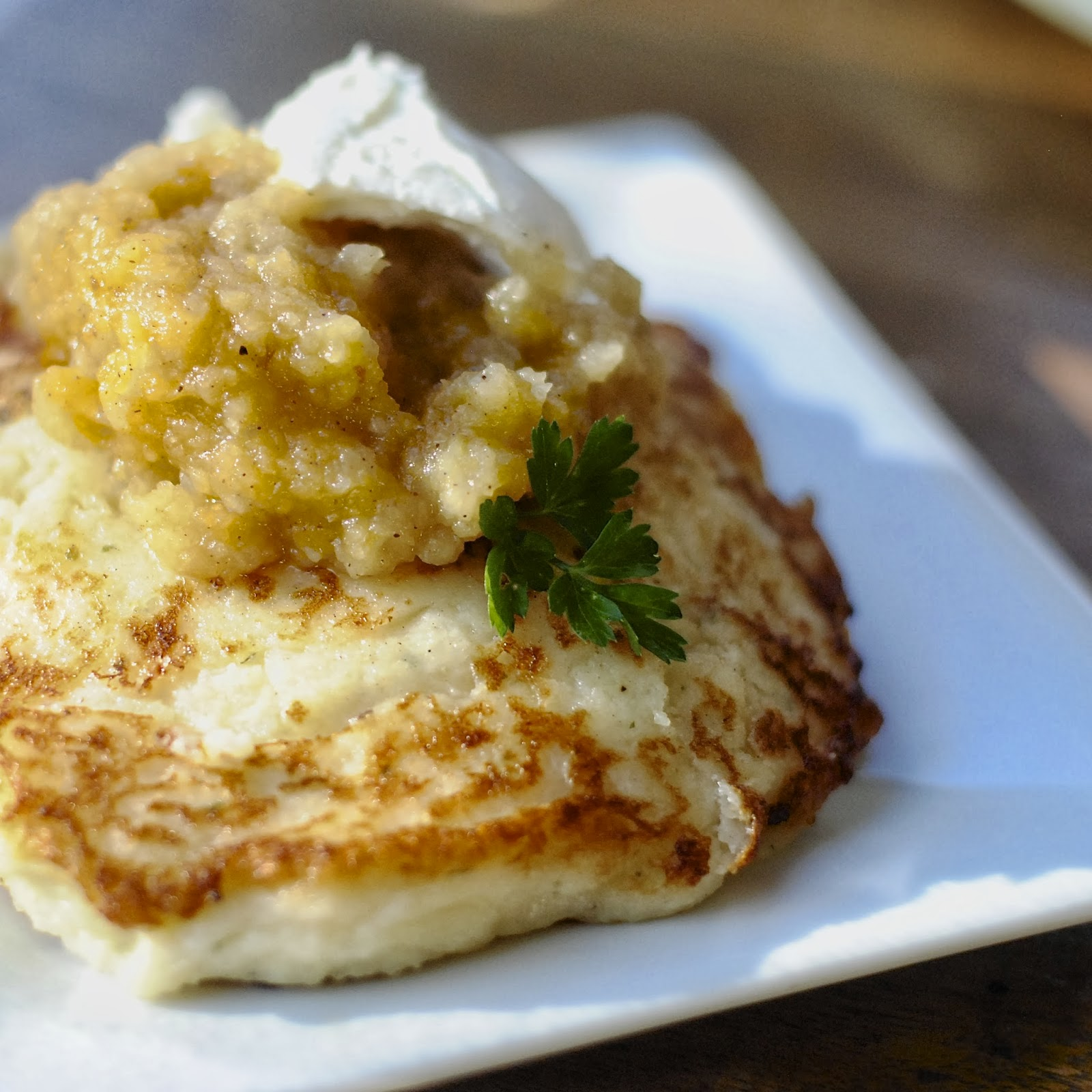 Mashed Potato Pancakes with Homemade Apple Sauce | Virtually Homemade ...