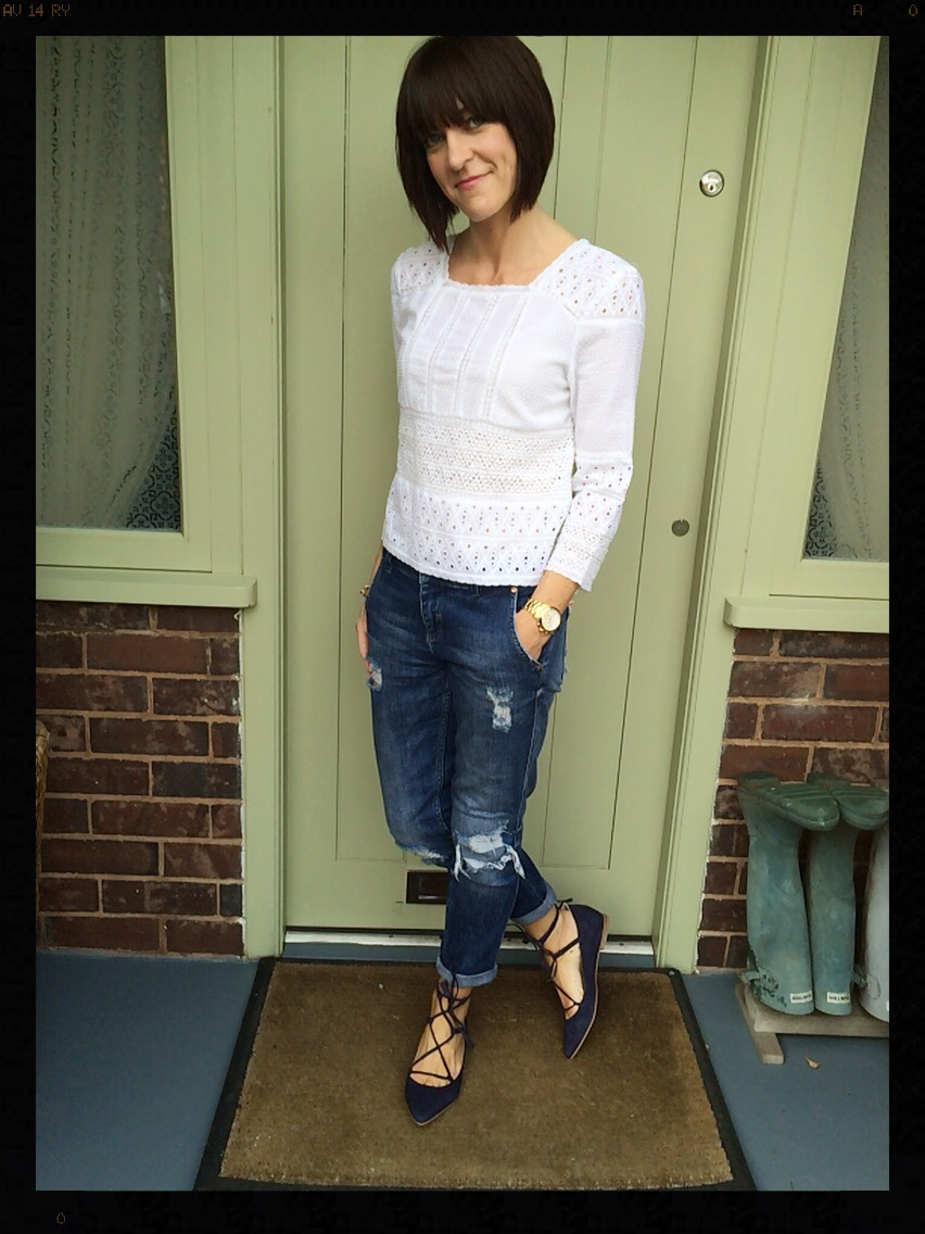 My Midlife Fashion, Zara, Boden, Lace Top, Boyfriend Jeans, Distressed Denim, Boden Lille Lace up point