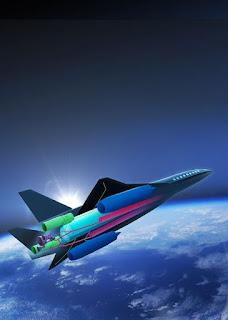 Το γράφημα δείχνει ένα σχεδιασμένο υπερηχητικό επιβατικό αεροσκάφος ZEHST (Zero Emission High Speed Technology) μηδενικών εκπομπών και Τεχνολογίας Υψηλής Ταχύτητας από την Airbus με τα προωθητικά του συστήματα.