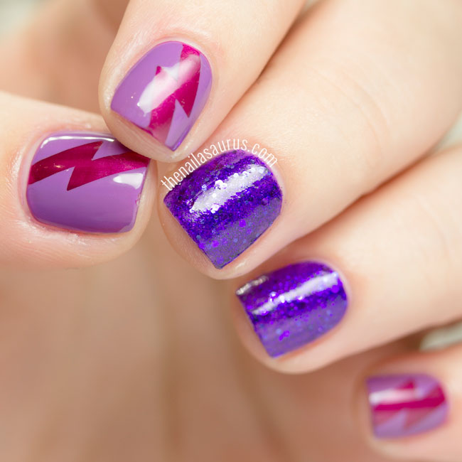 31DC2015: Violet Nails with Lightning Flashes