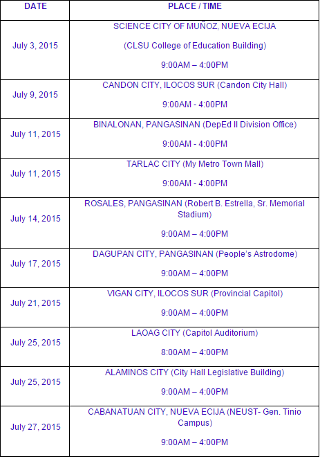 PRC Baguio schedule of registration May 2015 NLE