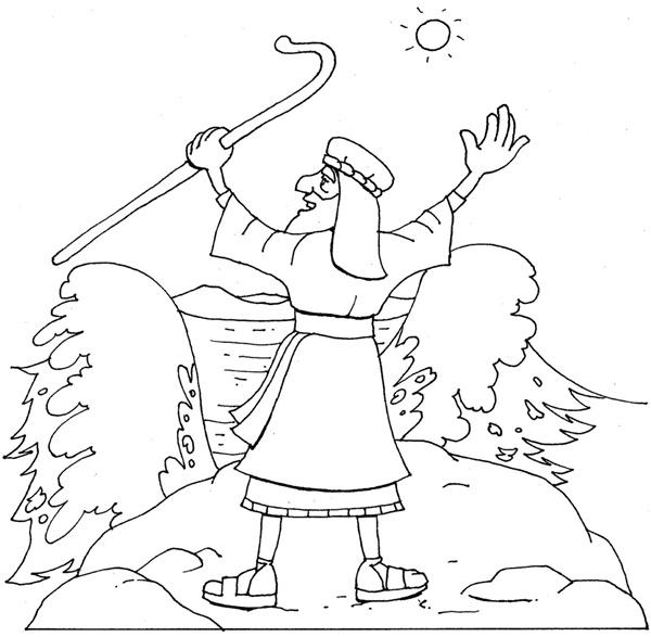 Desenho Bíblico Para Pintar - Moisés no Mar Vermelho