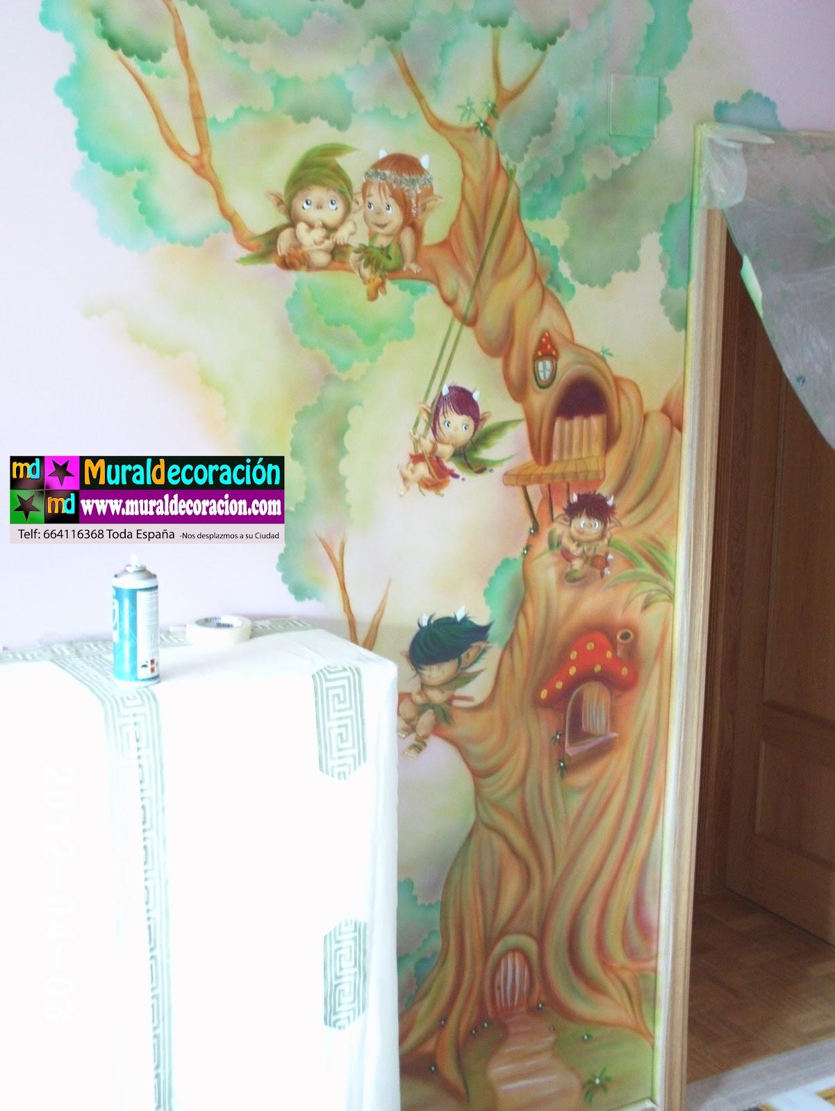 Murales infantiles toread duendes del bosque en mural for Dormitorio infantil bosque