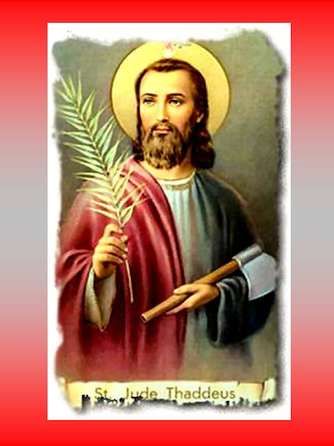 En la imagen San Judas Tadeo don la Hoja de Palma y el hacha.