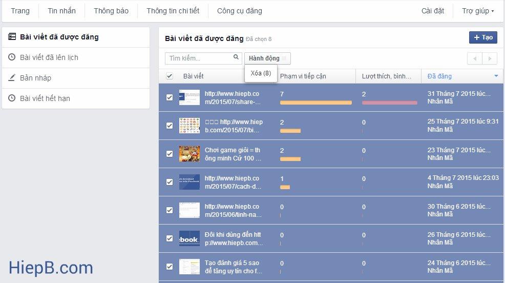 Cách xóa toàn bộ bài đăng (post) trên Fanpage Facebook