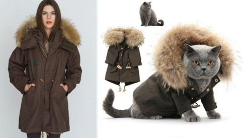 Matching luxury couture designer outfits for pet cat and women female