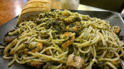 Nut Pesto With Seafood Shrimps Mussels And Squid Generously Included But It Would Be Better If This Is Not Swimming In Oil