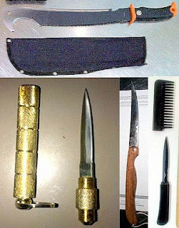 (Top to Bottom - Left to Right) Machete (BWI), Kubaton w/ Blade (BNA), Kitchen Knife (AUS), Comb Knife (GRR)