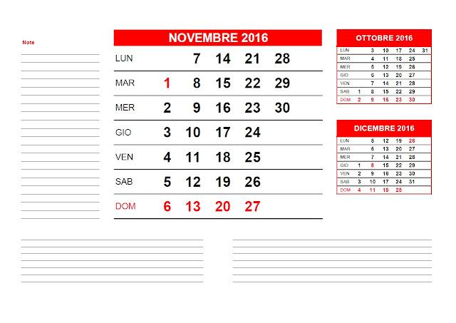 Calendario mensile 2016- novembre
