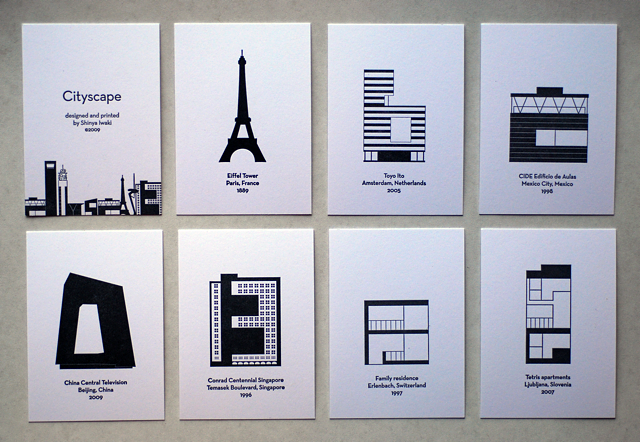 poster with credits for each building he also letterpress printed his cityscape alphabet in an edition of 100 as a set of 26 individual cards