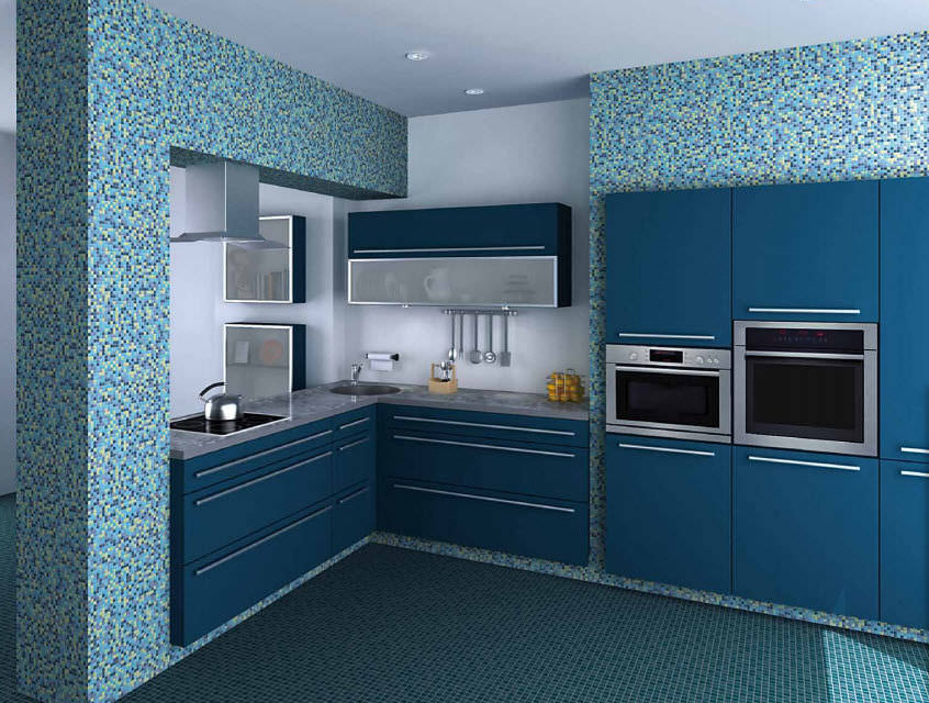Imagenes de cocinas integrales azules la - Colores azules para paredes ...