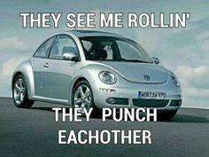 VW bug, silver VW bug, VW bug meme, slug bug, slug bug meme, slug bug picture, silver one, silver vw, they see me rollin, they see me rollin they punch each other