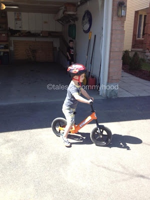 riding a balance bike