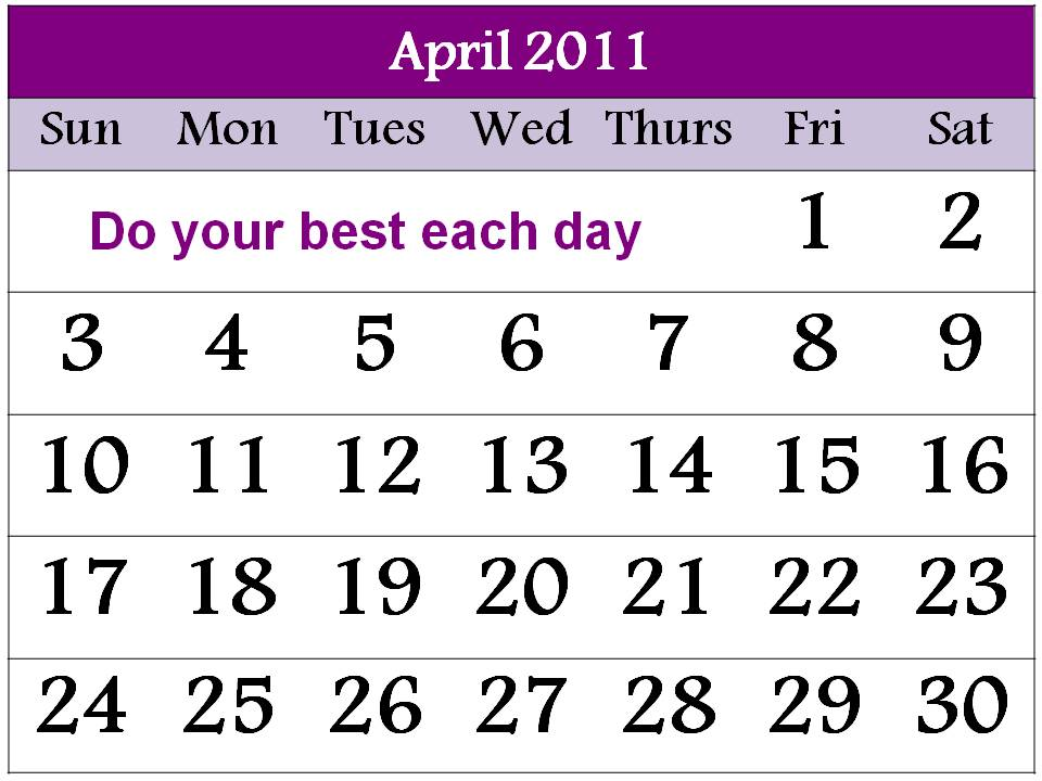 april 2011 calendar printable with. april 2011 printable calendar.