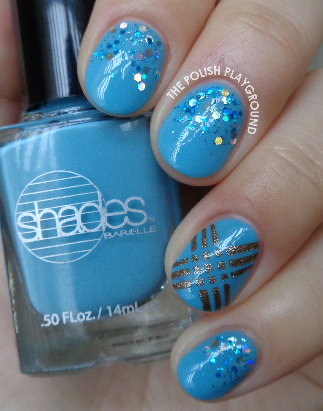 Blue Glitter Gradient with Striping Tape Accent Nail Art